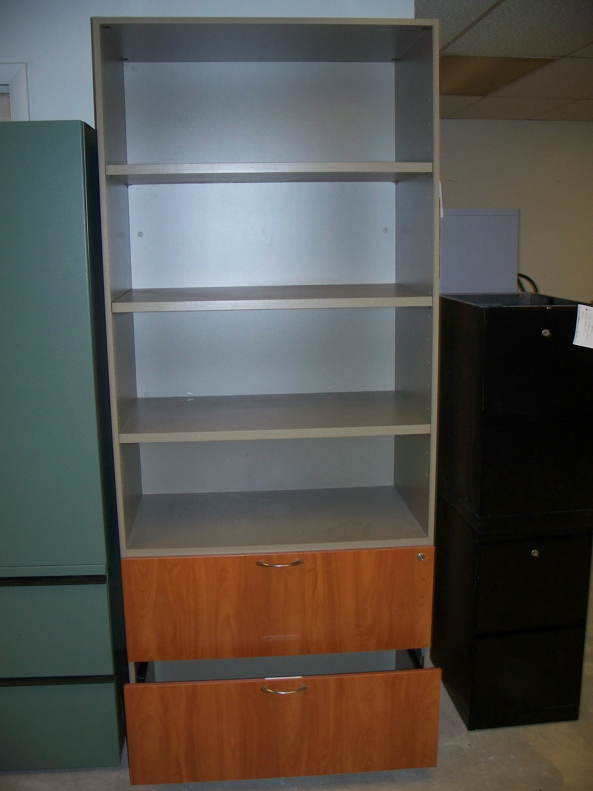 3h Laminate Lateral File And Bookcase Combo